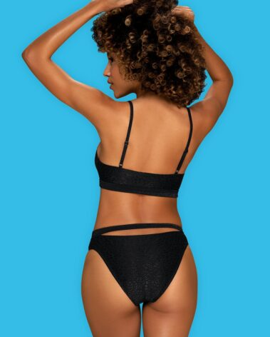 Hot bikini Miamelle sports style bra - comfortable to wear additional strap under the bust and on the bikini - accentuated curves intense black color delicate and elastic fabric (85% polyamide + 15% elastane, lining: 95% polyester + 5% elastane)